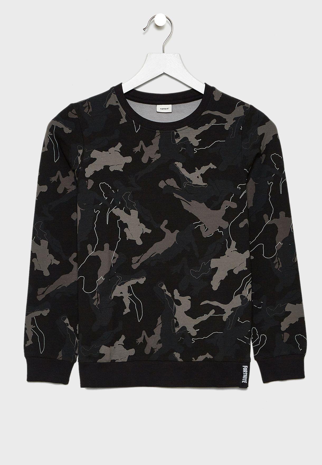 Teen Camo Printed Sweatshirt