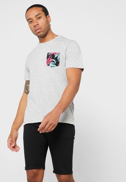 Contrast Pocket Crew Neck T-Shirt