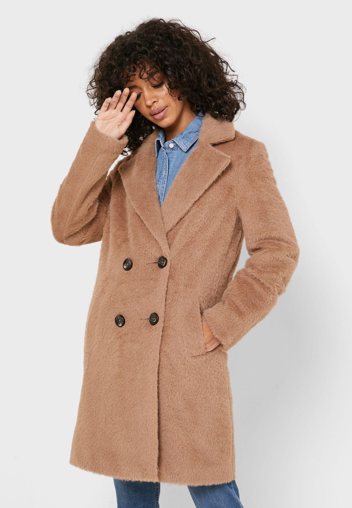 معطف فرو بجيوب