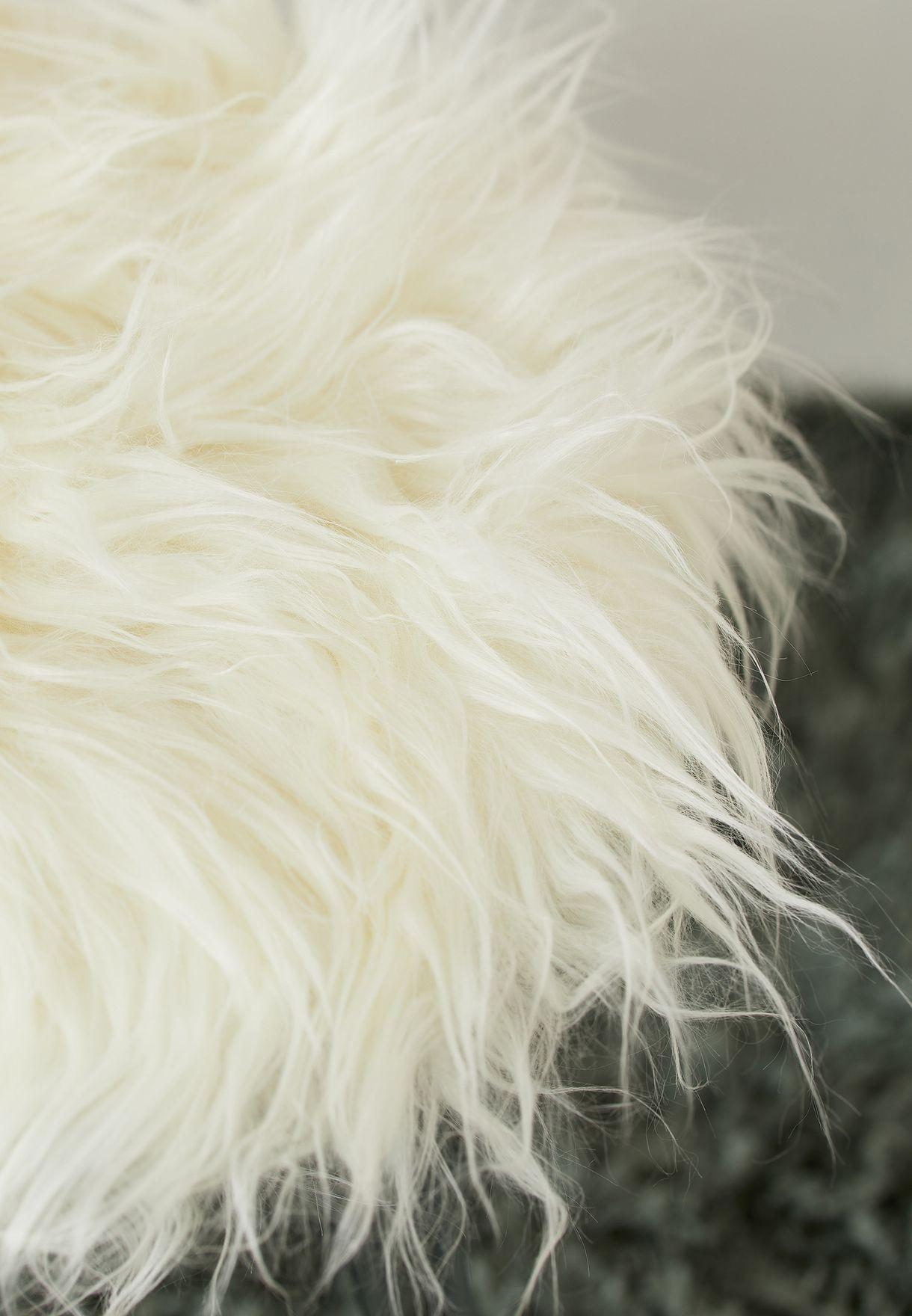 White Fluffy Upholstered Footstool