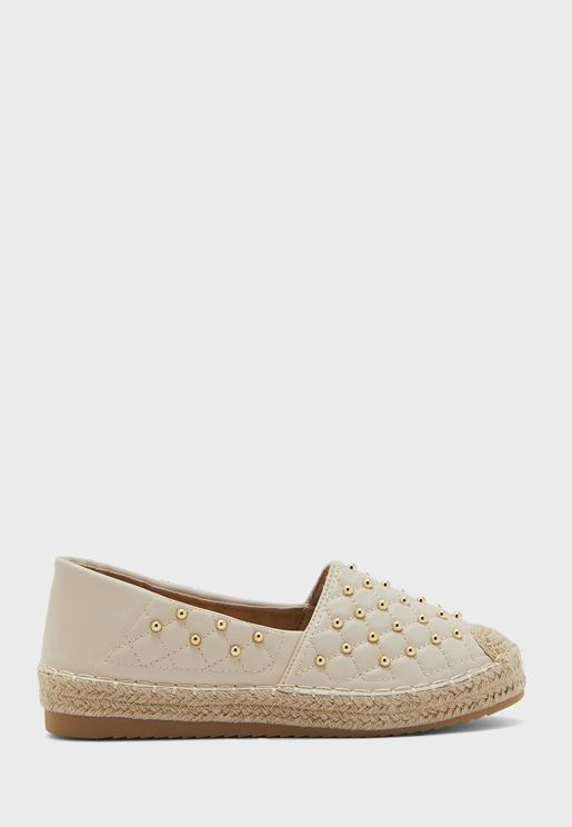 Quilted Stud Detail Espadrille