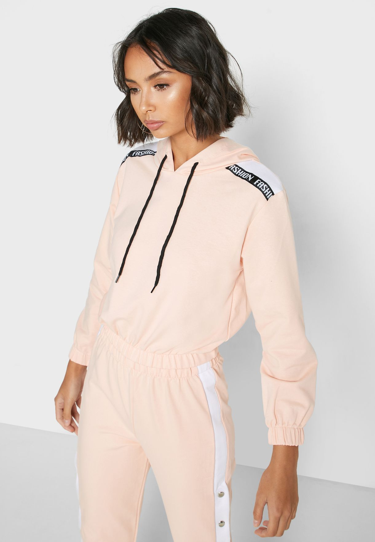 Contrast Side Button Paneled Hoodie Set