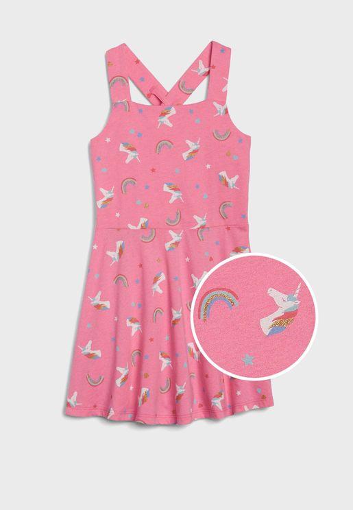 Kids Ruffle Hem Printed Dress