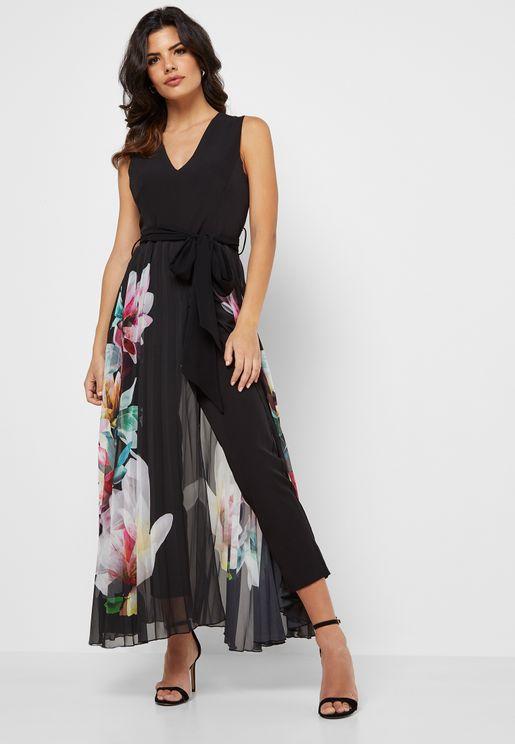 Floral Print Overlay Pleated Dress
