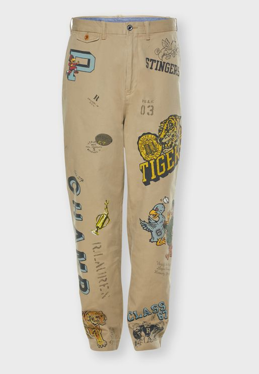 Vintage Print Relaxed Trousers