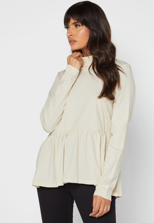 Turtle Neck Pleated Top