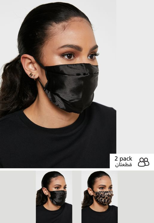2 Pack Plain Stain Fashion Face Mask