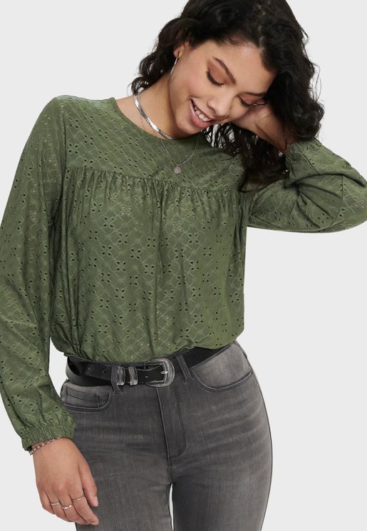 Broiderie Long Sleeve Top