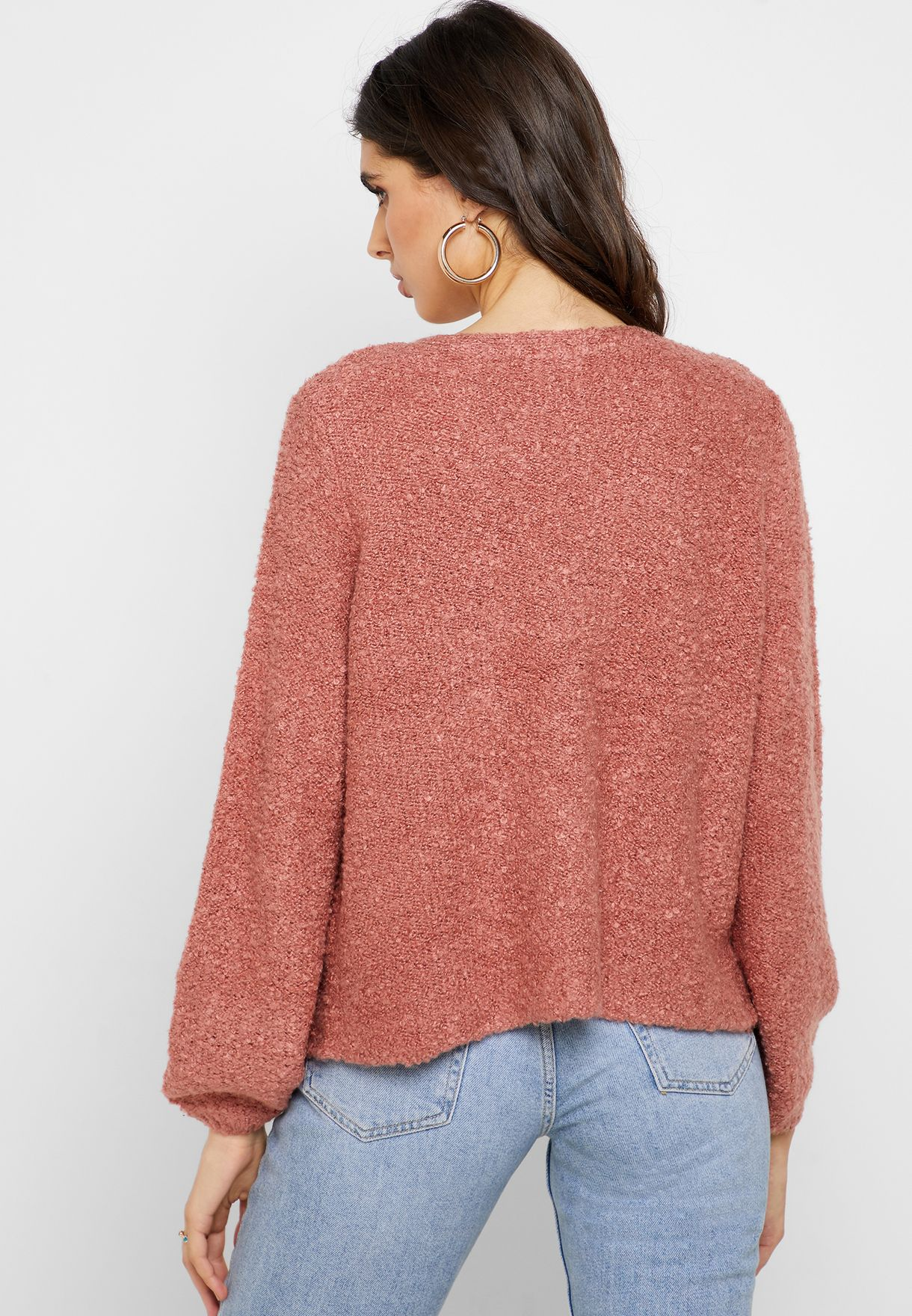 Knitted Puffed Sleeve Cardigan