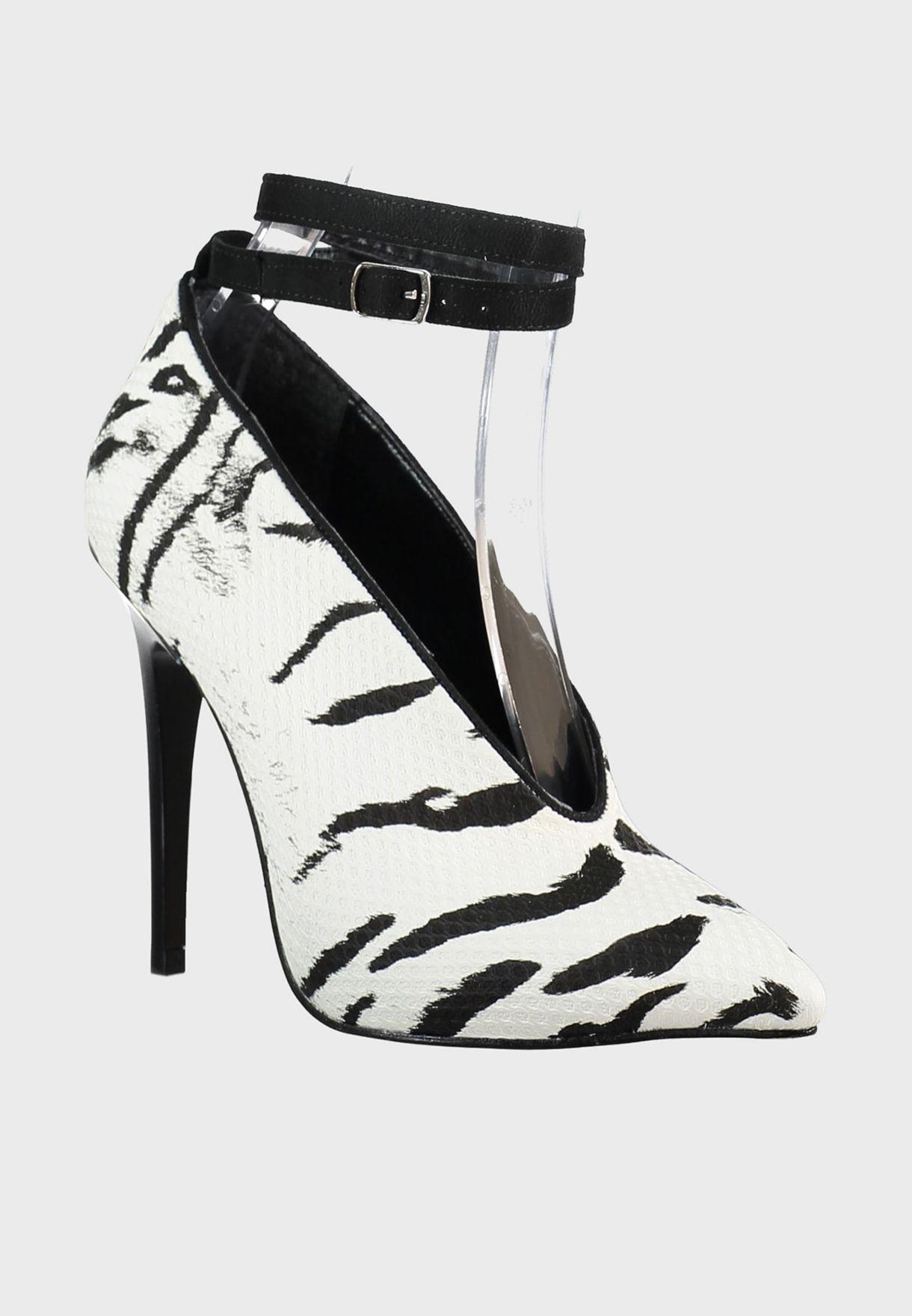Zebra Detail Ankle Strap Pump