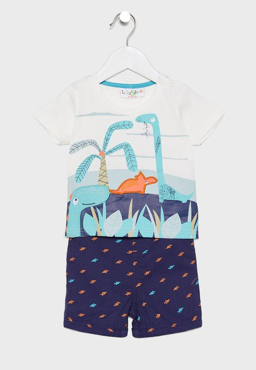 Infant Dino T-Shirt + Printed Shorts