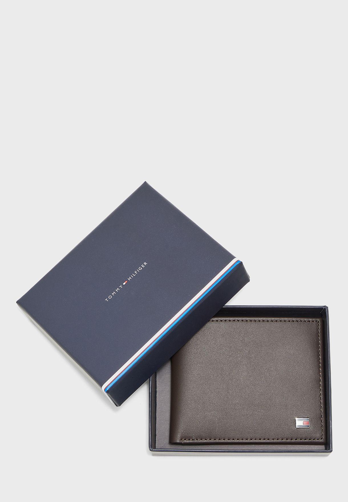 محفظة جلد اصلي ثنائية الطي