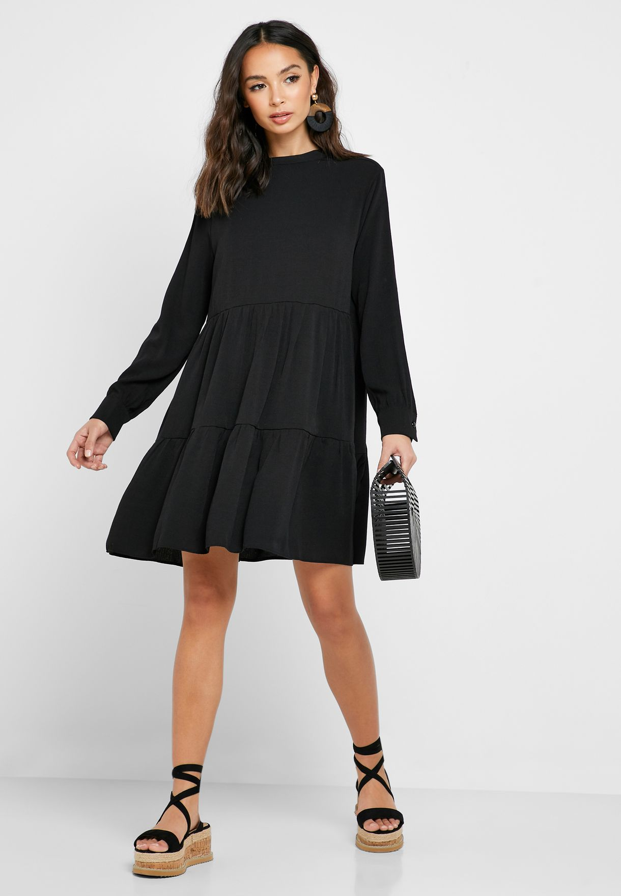 Tiered High Neck Midi Dress
