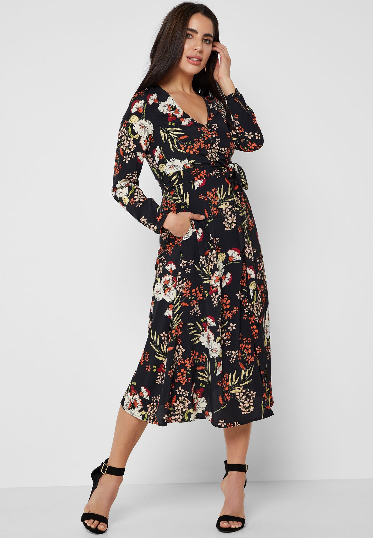 f752c71a0 Shop Ella prints Floral Print Wrap Front Midi Dress 35025 for Women ...