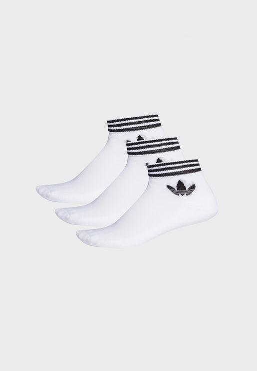 3 Pack Trefoil Adicolor Casual Unisex Ankle Socks