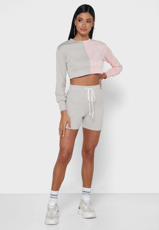 Color Block Crop Top & Shorts Set