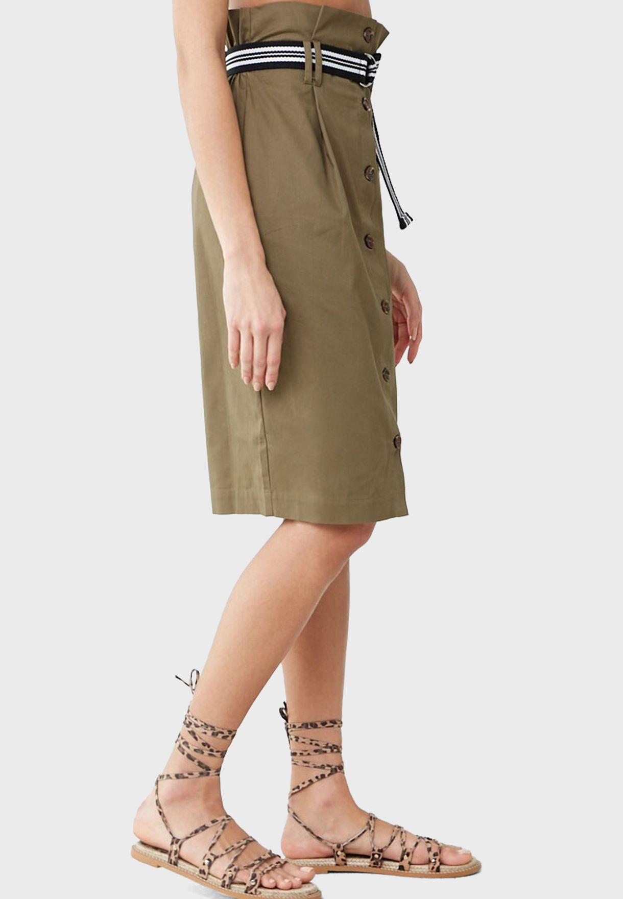 High Waist Button Down Midi Skirt