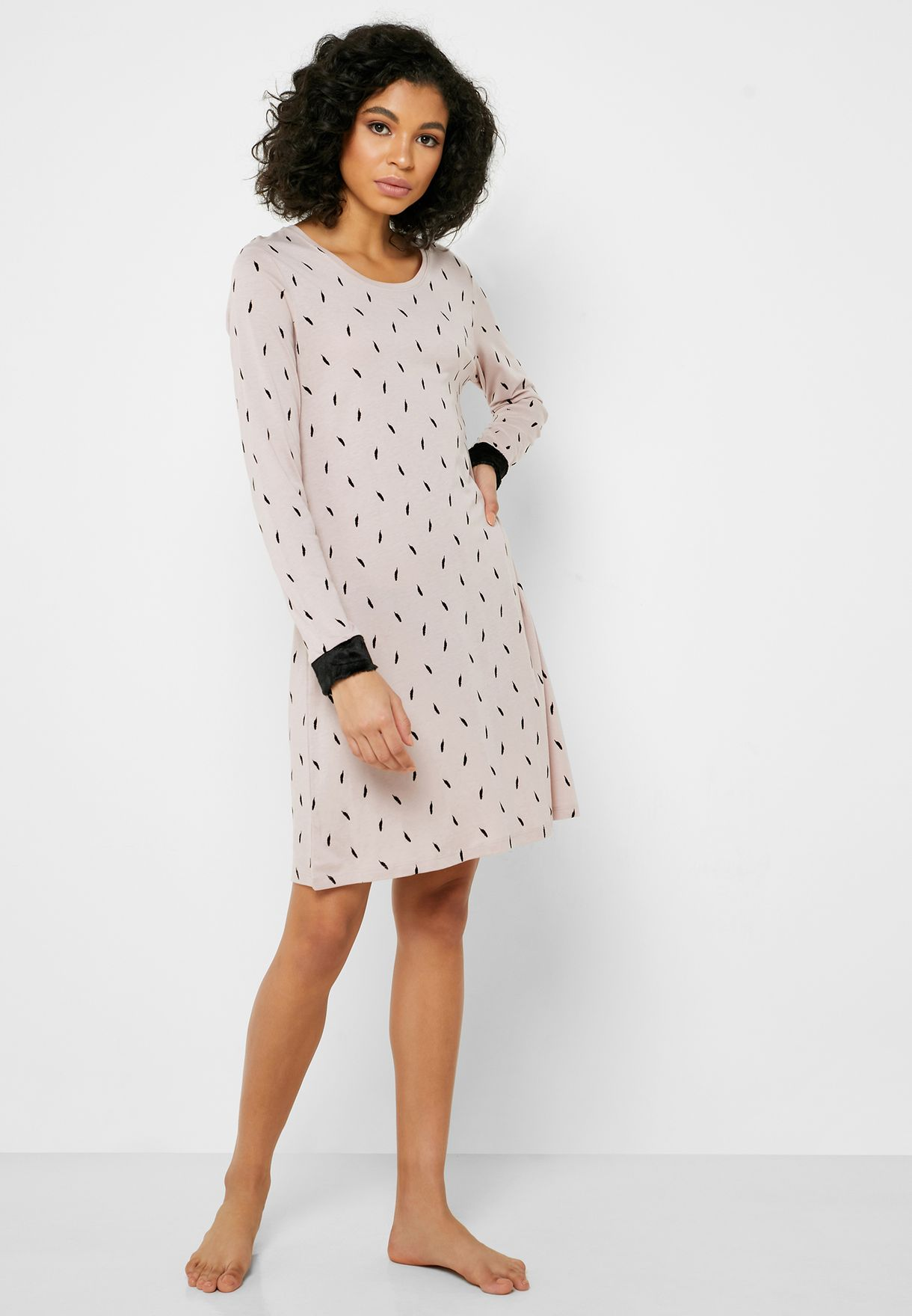Contrast Cuff Printed Nightdress