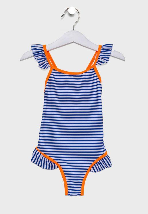 Little Ruffle Trim Crossback Striped Swimsuit