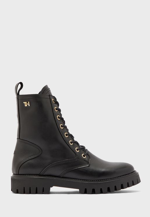 Shaded Leather Ankle Boot