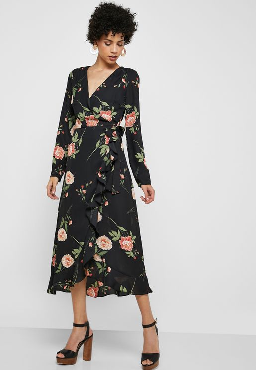 Long Sleeve Floral Print Midi Dress