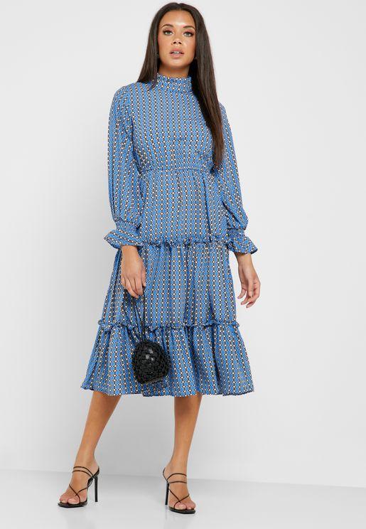 Printed Tiered Detail Midi Dress