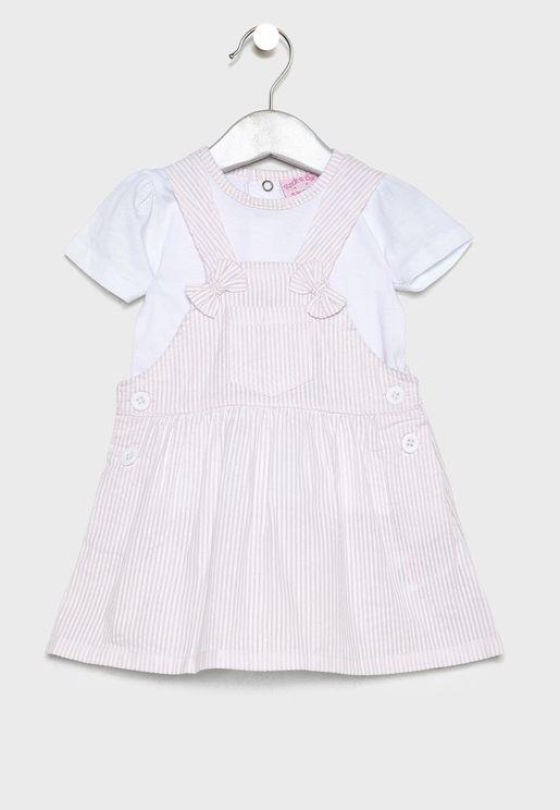 Infant T-Shirt + Bear Applique Dress Set