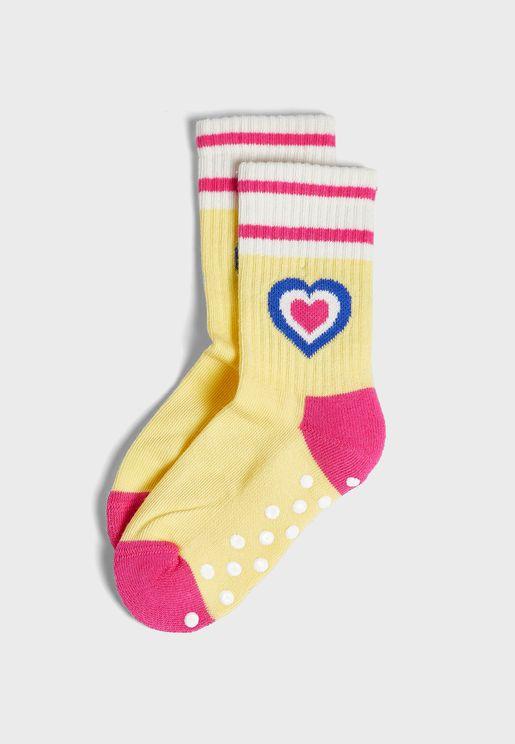 Kids Heart Rib Crew Socks