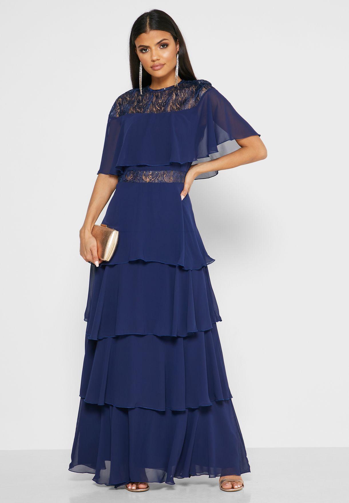 Lace Mesh Insert Dress