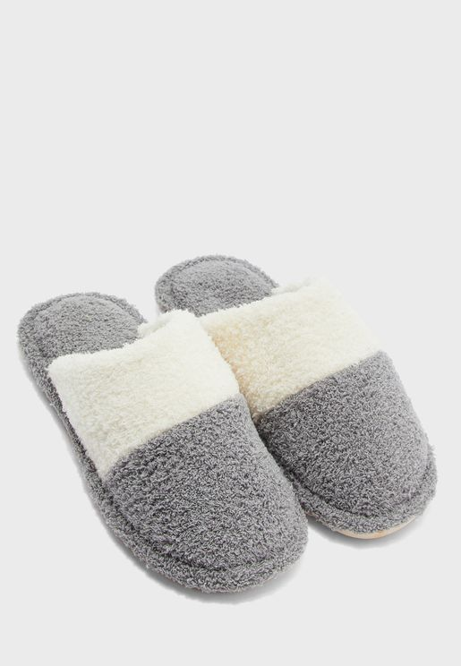 Men's Colour Block Bedroom Slippers