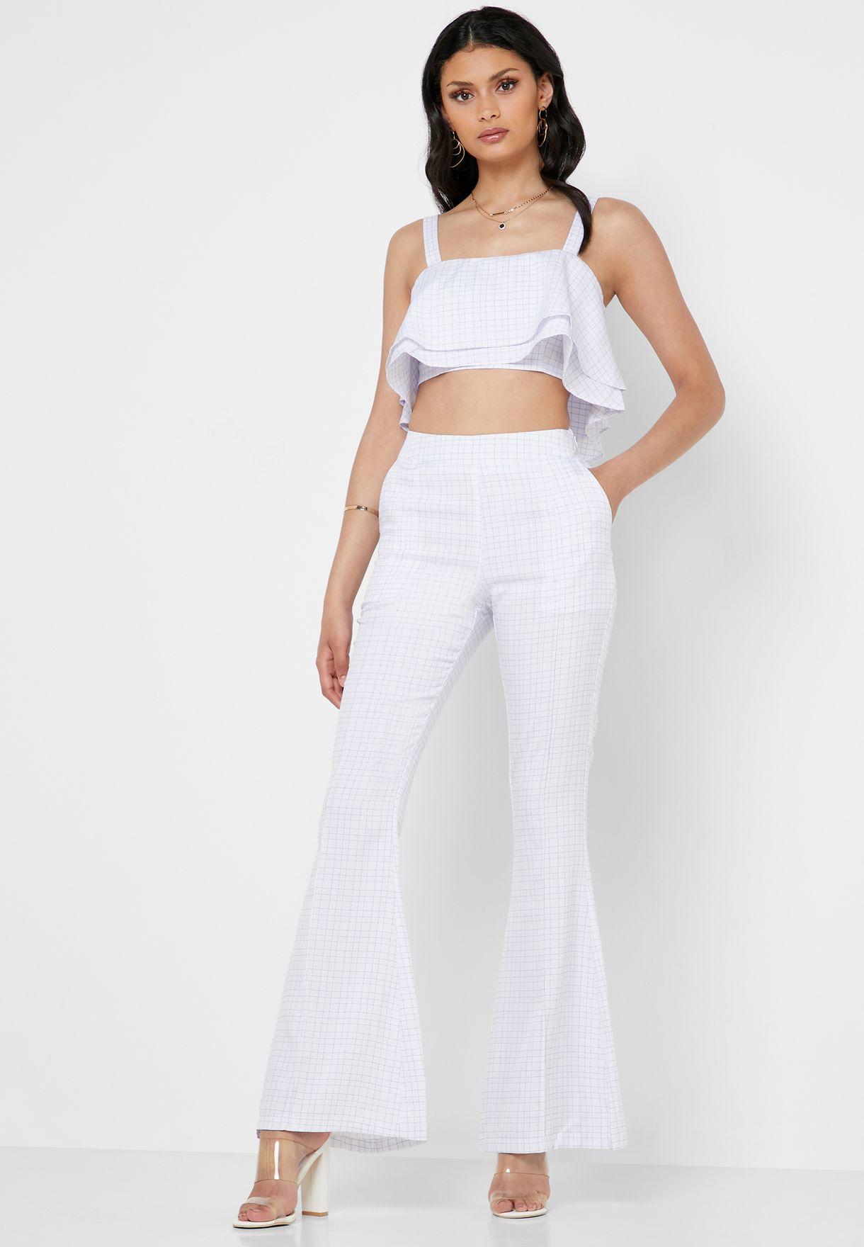 Layered Crop Top & High Waist Pants Set