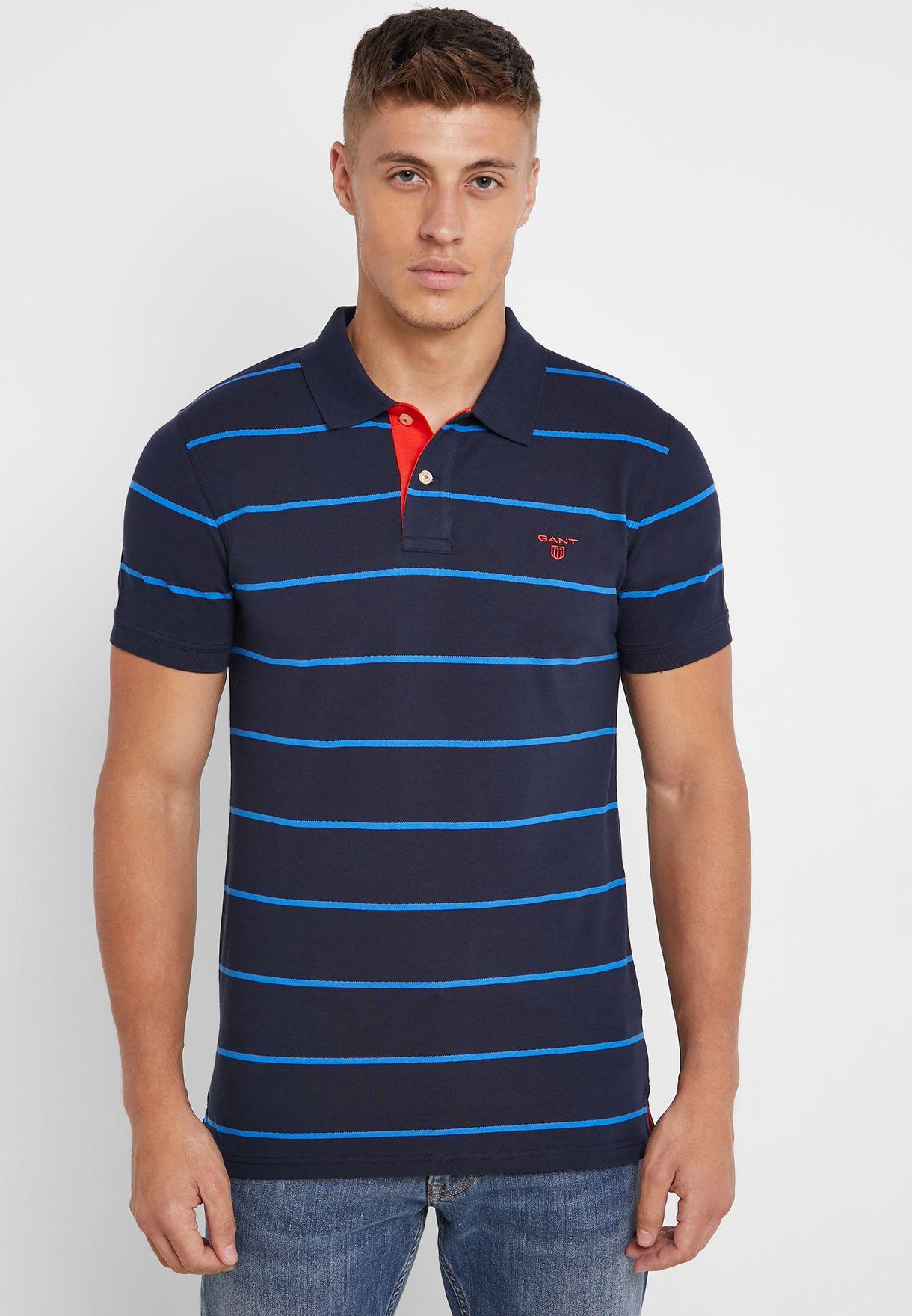Contrast Striped Pique Polo