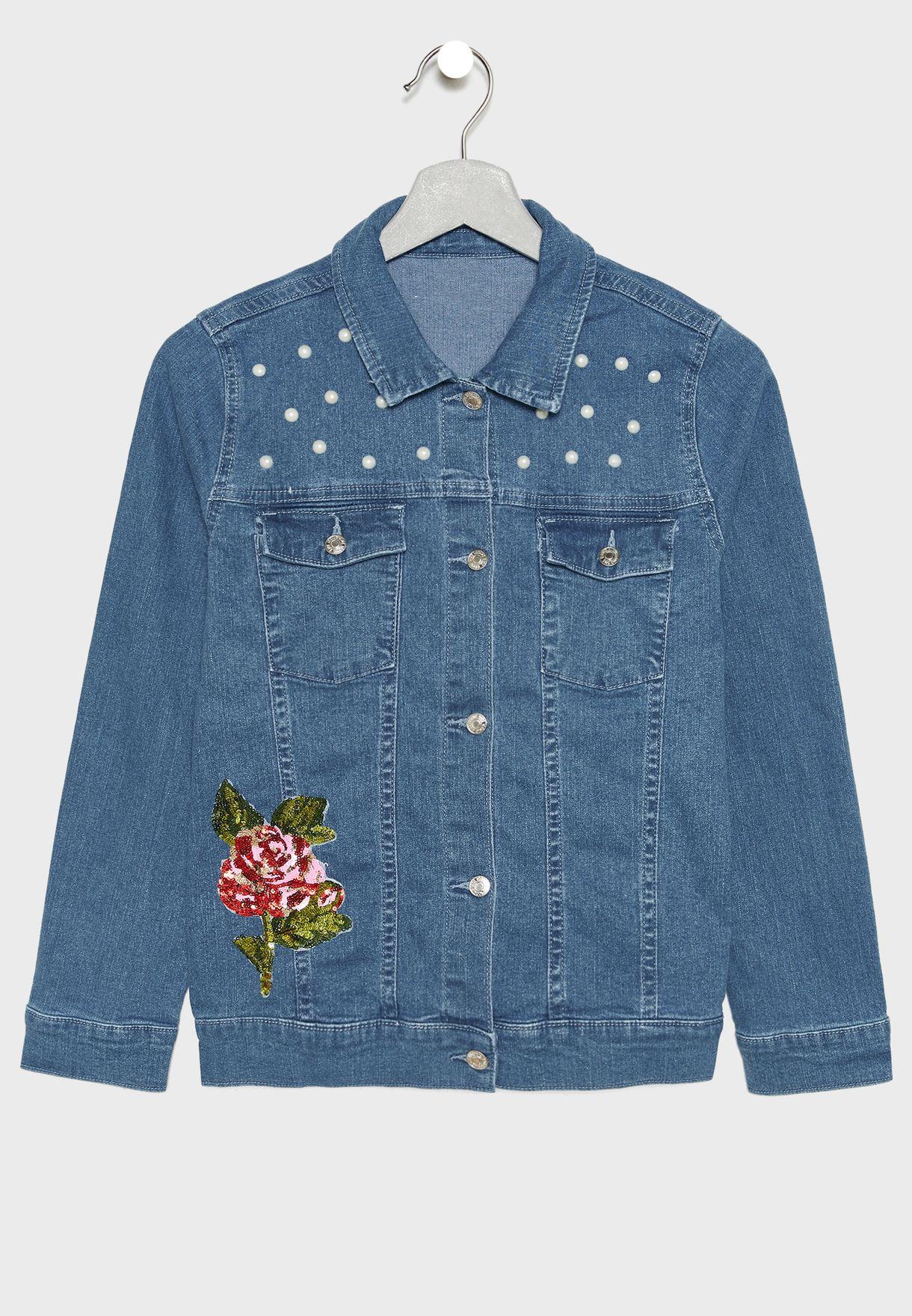 Kids Embroidered Denim Jacket