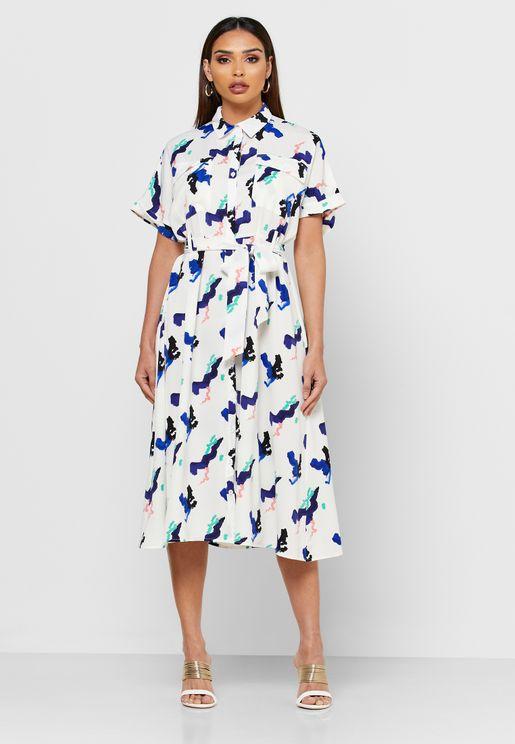 فستان ماكسي مطبع