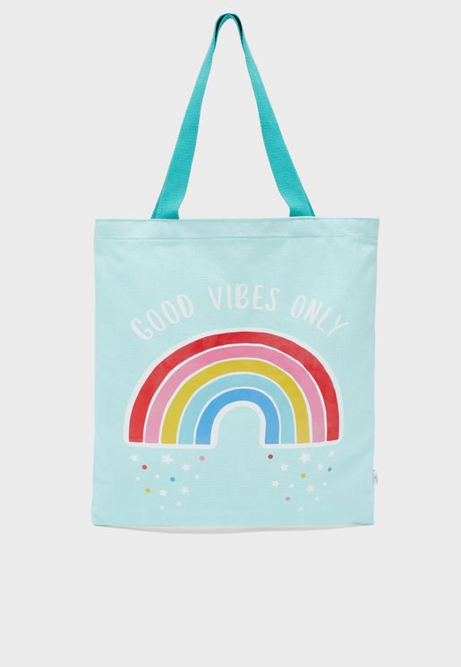 Kids Chasing Rainbow Tote Bag