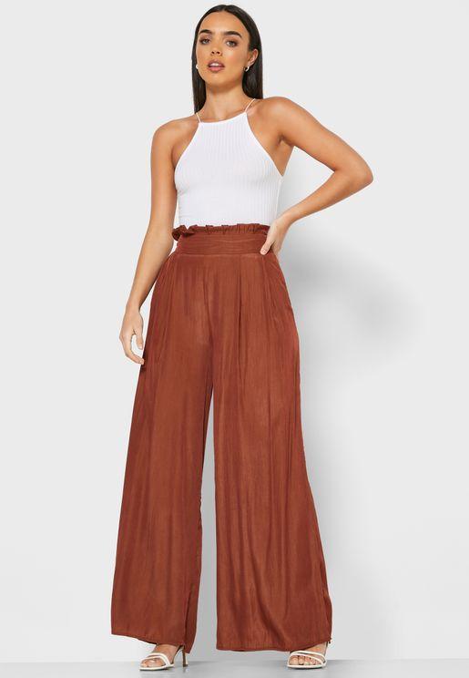 Paperbag Waist Wide Leg Pants