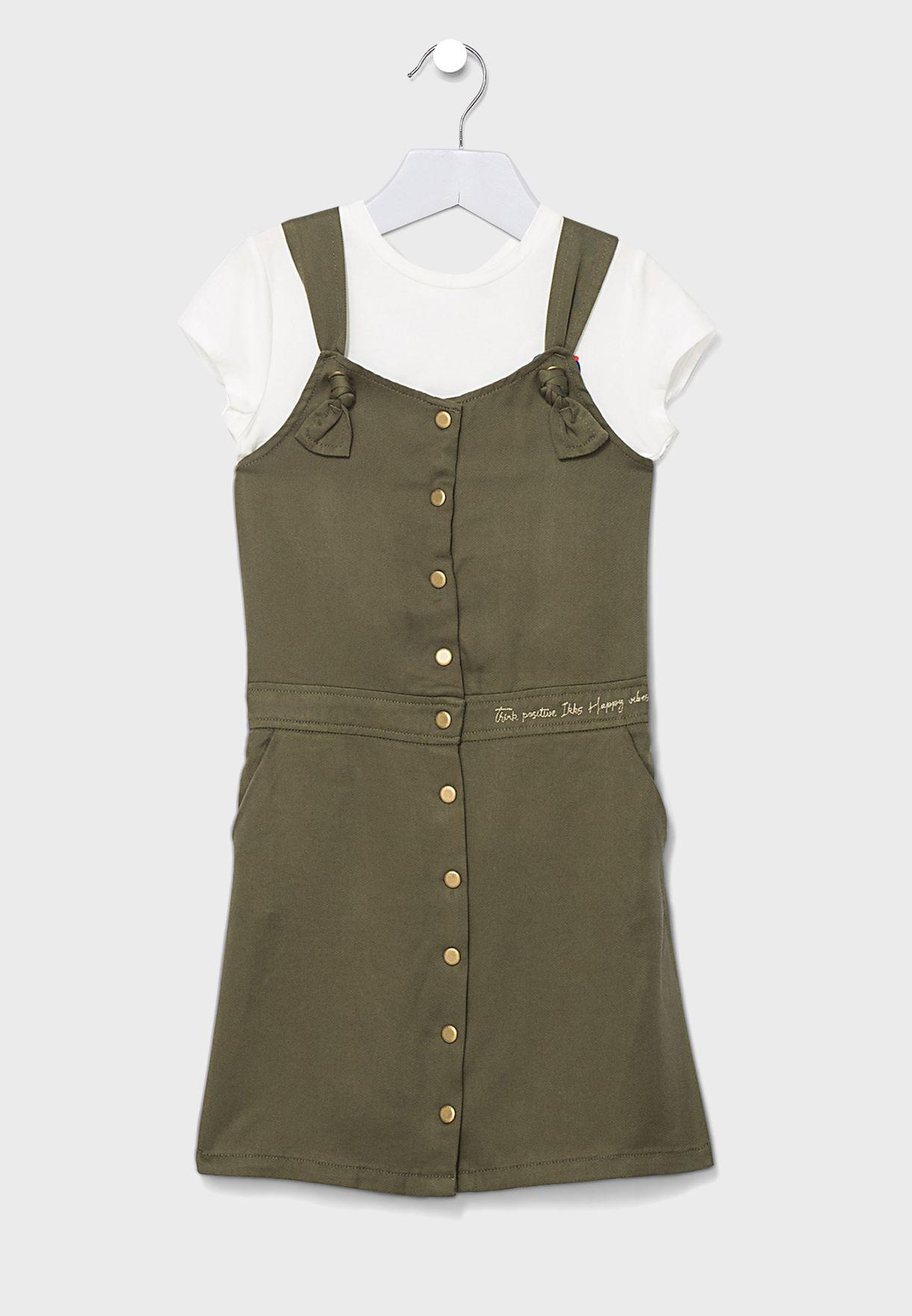 طقم فستان دنغري + تيشيرت للاطفال