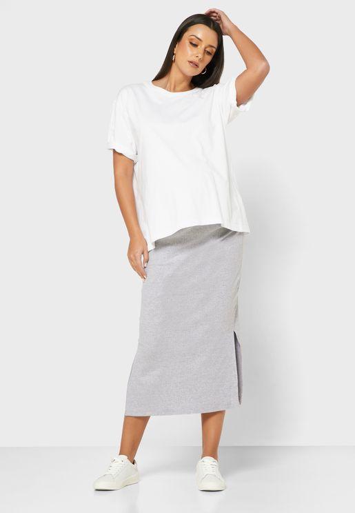 Ribbed Split Side Skirt