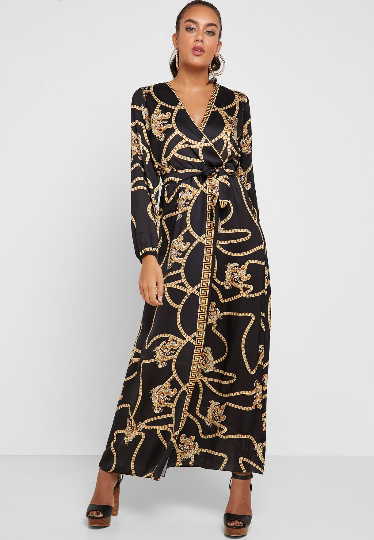 Printed Wrap Front Maxi Dress