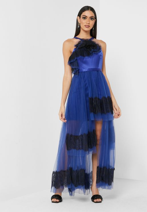 High Low Halter Neck Dress