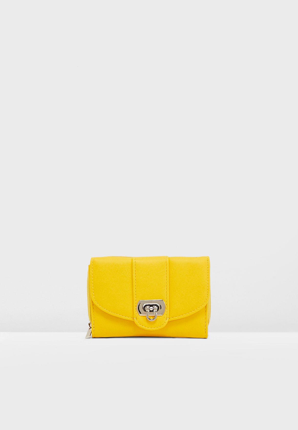 260194ef4837f0 Shop New Look yellow Yelda Twist Lock Small Purse 615429785 for ...