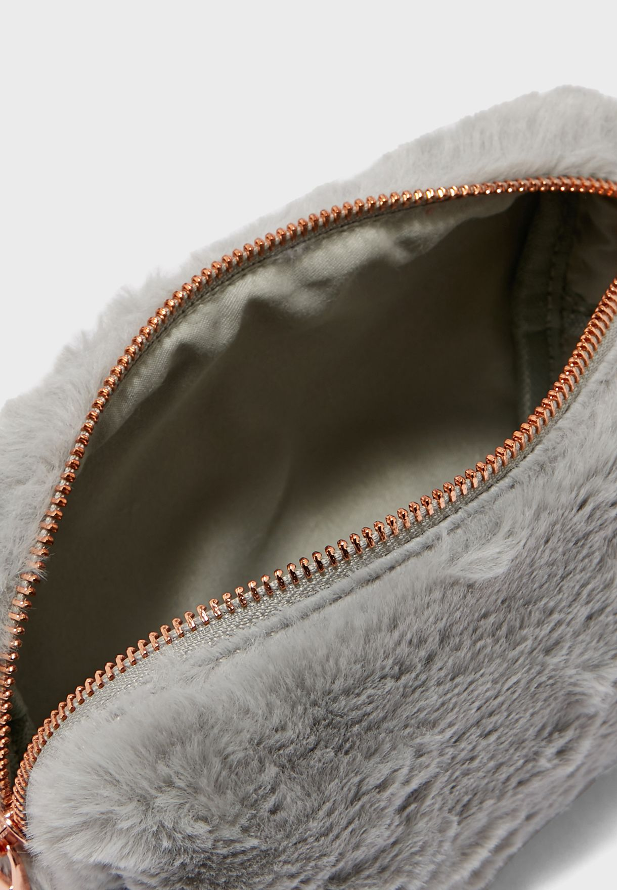 Grey Faux Fur Cosmetic Bag