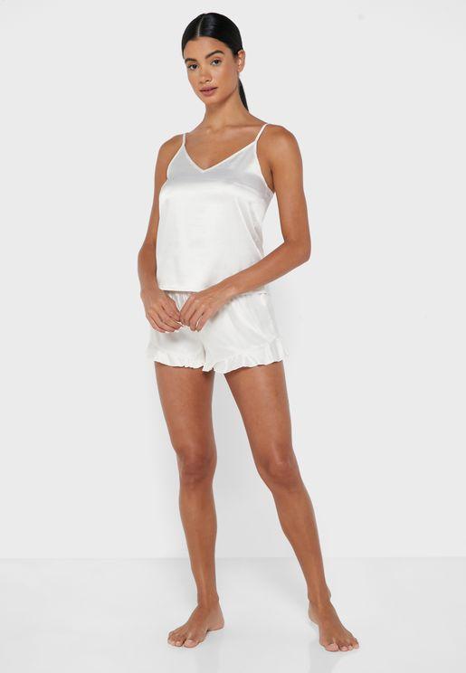 Wellness Satin Top & Short Pyjama Set