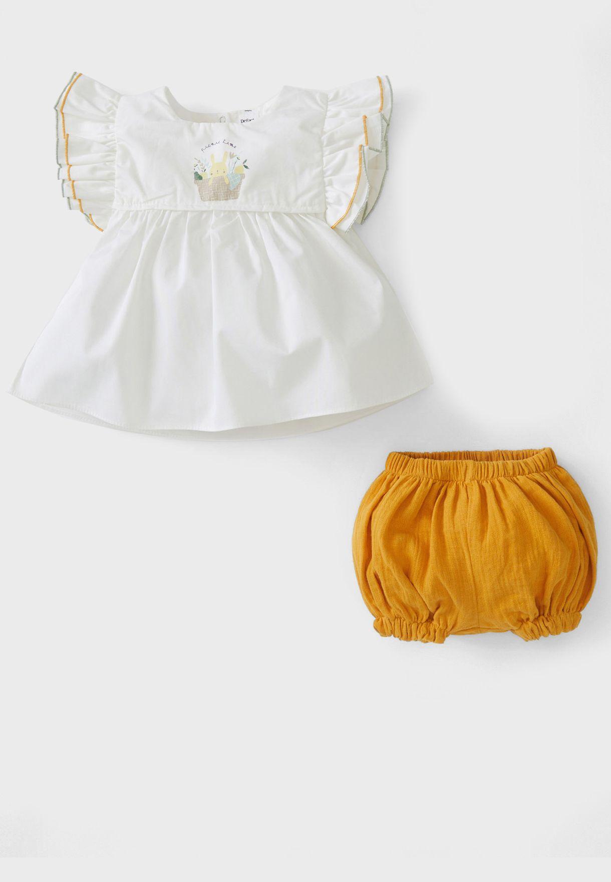 Infant Ruffle Sleeve Dress + Shorts Set
