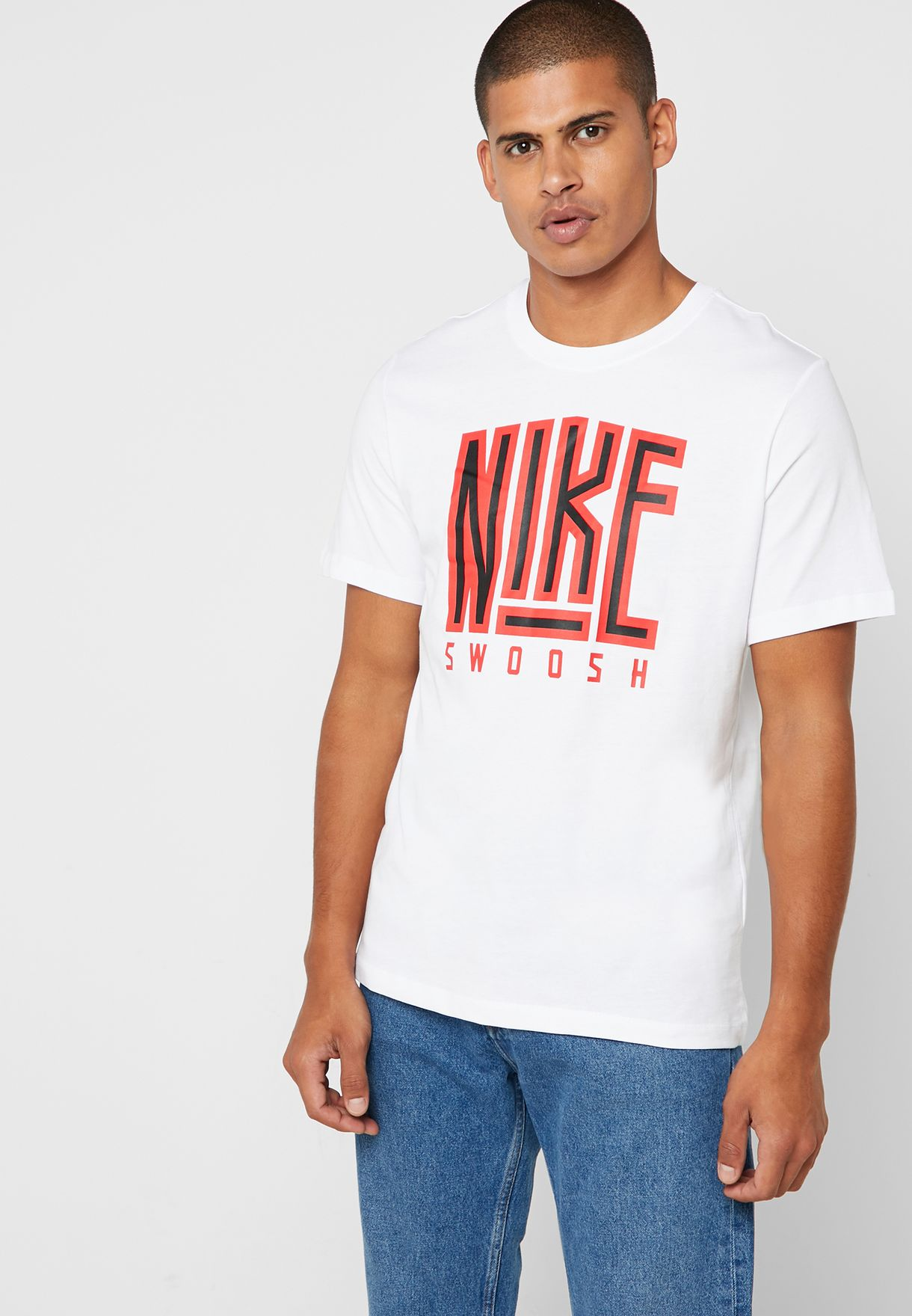 b0b0604b Shop Nike white NSW Swoosh Core T-Shirt AR5025-100 for Men in Saudi -  72704AT63XZP