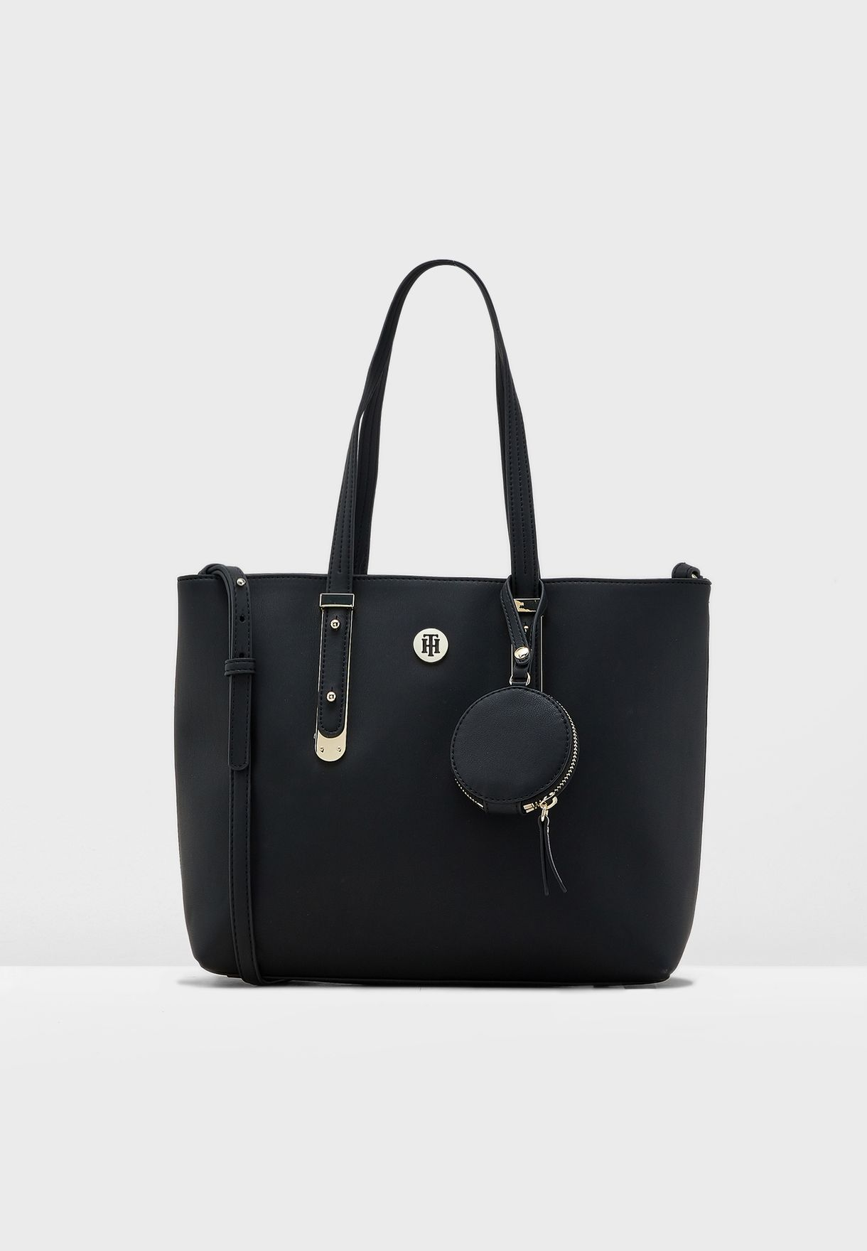34a11d6f2 Shop Tommy Hilfiger black Modern Hardware Tote AW0AW06918 for Women ...