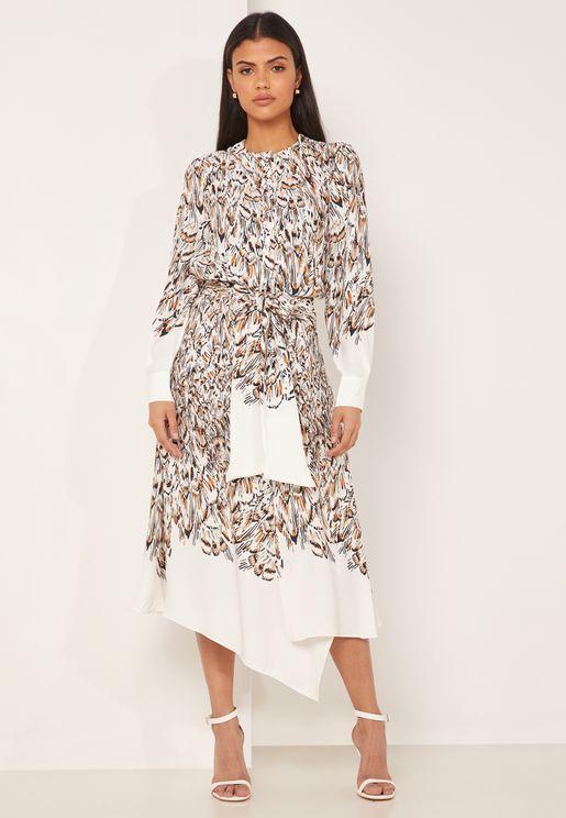 Mia Asymmetric Printed Dress