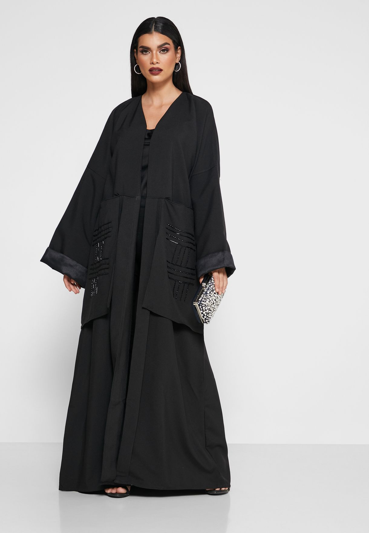 Sequin Detail Embroidered Abaya