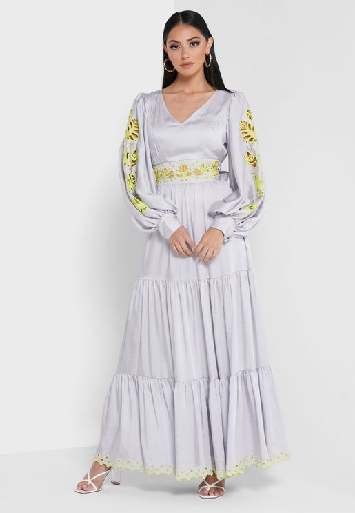 Lenny Embroidered Balloon Sleeve Tiered Dress