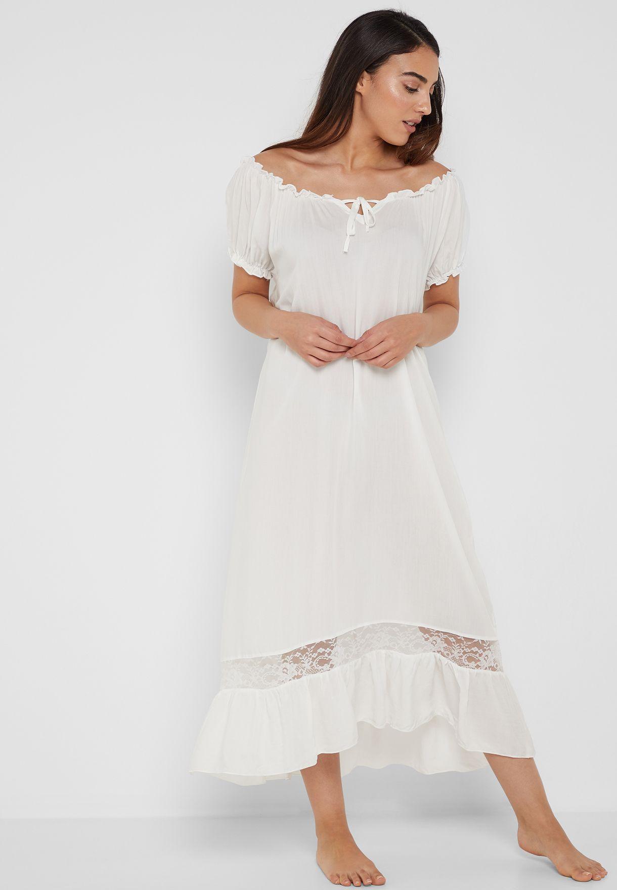 5013fffdfbc27 Shop Ella white Lace Insert Ruffle Hem Bardot Nightdress GT006 for ...